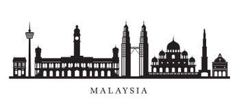 Ορίζοντας ορόσημων της Μαλαισίας στη γραπτή σκιαγραφία Στοκ εικόνα με δικαίωμα ελεύθερης χρήσης