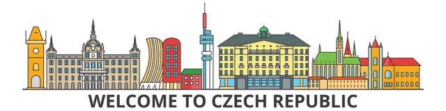 Ορίζοντας περιλήψεων Τσεχιών, τσεχικά επίπεδα λεπτά εικονίδια γραμμών, ορόσημα, απεικονίσεις Εικονική παράσταση πόλης Τσεχιών, τσ απεικόνιση αποθεμάτων