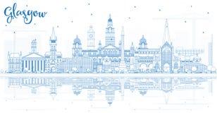 Ορίζοντας πόλεων της Γλασκώβης Σκωτία περιλήψεων με τα μπλε κτήρια και το Πε διανυσματική απεικόνιση