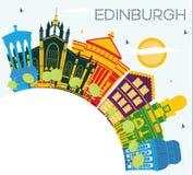Ορίζοντας πόλεων του Εδιμβούργου Σκωτία με τα κτήρια χρώματος, μπλε ουρανός α διανυσματική απεικόνιση