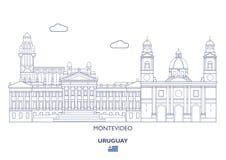 Ορίζοντας πόλεων του Μοντεβίδεο, Ουρουγουάη Στοκ Φωτογραφία