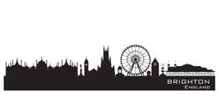 Ορίζοντας πόλεων του Μπράιτον Αγγλία Λεπτομερής σκιαγραφία διανυσματική απεικόνιση