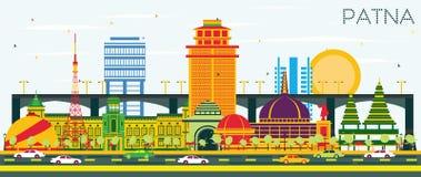 Ορίζοντας πόλεων του Πάτνα Ινδία με τα κτήρια και το μπλε ουρανό χρώματος απεικόνιση αποθεμάτων