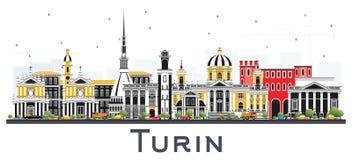 Ορίζοντας πόλεων του Τορίνου Ιταλία με τα κτήρια χρώματος που απομονώνονται στο λευκό Στοκ εικόνα με δικαίωμα ελεύθερης χρήσης