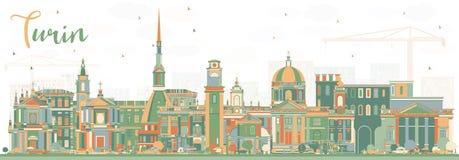 Ορίζοντας πόλεων του Τορίνου Ιταλία με τα κτήρια χρώματος Στοκ φωτογραφία με δικαίωμα ελεύθερης χρήσης