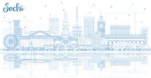 Ορίζοντας πόλεων του Sochi Ρωσία περιλήψεων με τα μπλε κτήρια και Reflec Στοκ Φωτογραφία