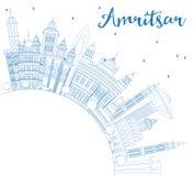 Ορίζοντας πόλεων Amritsar Ινδία περιλήψεων με τα μπλε κτήρια και το αντίγραφο Στοκ φωτογραφία με δικαίωμα ελεύθερης χρήσης