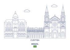 Ορίζοντας πόλεων Curitiba, Βραζιλία Στοκ Φωτογραφίες
