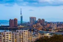 Ορίζοντας πόλεων Hakata τη νύχτα στο Φουκουόκα, Ιαπωνία Στοκ εικόνα με δικαίωμα ελεύθερης χρήσης
