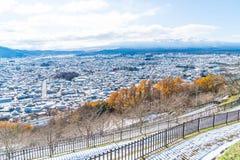 ορίζοντας πόλεων kawaguchiko με το χιόνι Στοκ εικόνα με δικαίωμα ελεύθερης χρήσης