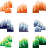 Ορίζοντας πόλεων και διάνυσμα κτηρίων Λογότυπο και σημάδια Στοκ Εικόνα