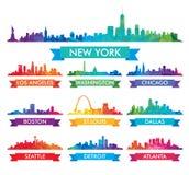 Ορίζοντας πόλεων της ζωηρόχρωμης απεικόνισης της Αμερικής διανυσματική απεικόνιση