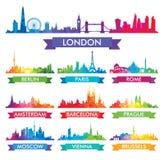 Ορίζοντας πόλεων της ζωηρόχρωμης απεικόνισης της Ευρώπης απεικόνιση αποθεμάτων