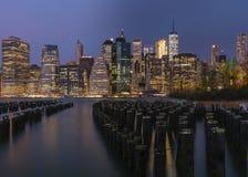 Ορίζοντας πόλεων της Νέας Υόρκης από το Μπρούκλιν Στοκ Εικόνα