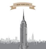 Ορίζοντας πόλεων της Νέας Υόρκης. Διανυσματικό ΑΜΕΡΙΚΑΝΙΚΟ τοπίο. Συρμένο χέρι υπόβαθρο σκίτσων Στοκ Εικόνες