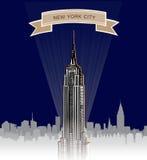 Ορίζοντας πόλεων της Νέας Υόρκης. Διανυσματικό ΑΜΕΡΙΚΑΝΙΚΟ τοπίο. Συρμένο χέρι υπόβαθρο σκίτσων Στοκ Εικόνα