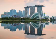 Ορίζοντας πόλεων της Σιγκαπούρης στο πρωί Στοκ φωτογραφίες με δικαίωμα ελεύθερης χρήσης