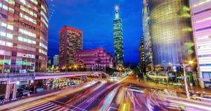 Ορίζοντας πόλεων της Ταϊπέι, Ταϊβάν στο λυκόφως νύχτα ημέρας φιλμ μικρού μήκους