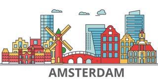 Ορίζοντας πόλεων του Άμστερνταμ απεικόνιση αποθεμάτων