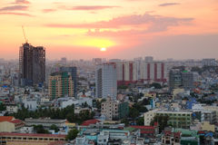 Ορίζοντας πόλεων του Ho Chi Minh στο ηλιοβασίλεμα, Βιετνάμ Στοκ εικόνα με δικαίωμα ελεύθερης χρήσης