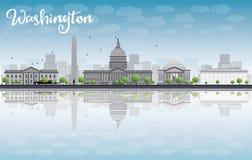 Ορίζοντας πόλεων του Washington DC με το σύννεφο και το μπλε ουρανό Στοκ Φωτογραφία