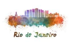 Ορίζοντας Ρίο ντε Τζανέιρο V2 στο watercolor διανυσματική απεικόνιση