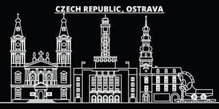 Ορίζοντας σκιαγραφιών της Οστράβα Δημοκρατία της Τσεχίας - διανυσματική πόλη της Οστράβα, τσεχική γραμμική αρχιτεκτονική, κτήρια  ελεύθερη απεικόνιση δικαιώματος