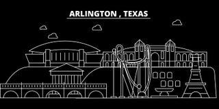 Ορίζοντας σκιαγραφιών του Άρλινγκτον ΗΠΑ - Διανυσματική πόλη του Άρλινγκτον, αμερικανική γραμμική αρχιτεκτονική, κτήρια Ταξίδι το Στοκ Φωτογραφία