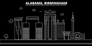 Ορίζοντας σκιαγραφιών του Μπέρμιγχαμ ΗΠΑ - Διανυσματική πόλη του Μπέρμιγχαμ, αμερικανική γραμμική αρχιτεκτονική, κτήρια Ταξίδι το ελεύθερη απεικόνιση δικαιώματος