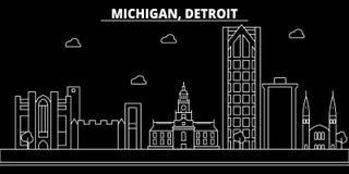 Ορίζοντας σκιαγραφιών του Ντιτρόιτ ΗΠΑ - Διανυσματική πόλη του Ντιτρόιτ, αμερικανική γραμμική αρχιτεκτονική, κτήρια Ταξίδι του Ντ ελεύθερη απεικόνιση δικαιώματος