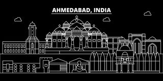 Ορίζοντας σκιαγραφιών του Ahmedabad Διανυσματική πόλη της Ινδίας - του Ahmedabad, ινδική γραμμική αρχιτεκτονική, κτήρια Ταξίδι το Στοκ φωτογραφία με δικαίωμα ελεύθερης χρήσης