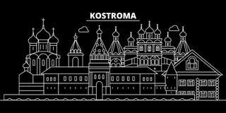 Ορίζοντας σκιαγραφιών Kostroma Ρωσία - διανυσματική πόλη Kostroma, ρωσική γραμμική αρχιτεκτονική, κτήρια Ταξίδι Kostroma ελεύθερη απεικόνιση δικαιώματος