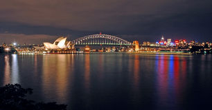 ορίζοντας Σύδνεϋ νύχτας στοκ εικόνες με δικαίωμα ελεύθερης χρήσης