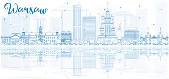 Ορίζοντας της Βαρσοβίας περιλήψεων με τα μπλε κτήρια και τις αντανακλάσεις Στοκ φωτογραφίες με δικαίωμα ελεύθερης χρήσης