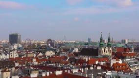 Ορίζοντας της Βιέννης, Αυστρία εναέρια όψη της Βιέννης australites Η Βιέννη Wien είναι η κύρια και μεγαλύτερη πόλη της Αυστρίας,  απόθεμα βίντεο