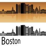 Ορίζοντας της Βοστώνης στο πορτοκάλι ελεύθερη απεικόνιση δικαιώματος