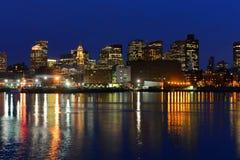 Ορίζοντας της Βοστώνης τη νύχτα, Μασαχουσέτη, ΗΠΑ Στοκ Εικόνες
