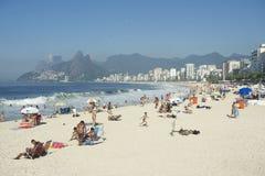 Ορίζοντας της Βραζιλίας Ρίο ντε Τζανέιρο παραλιών Ipanema Arpoador Στοκ Φωτογραφία