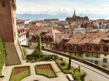 Ορίζοντας της Λωζάνης με Άγιος-Francois την εκκλησία, Λωζάνη, Vaud, Στοκ Εικόνα