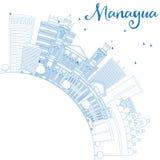 Ορίζοντας της Μανάγουα περιλήψεων με τα μπλε κτήρια και το διάστημα αντιγράφων διανυσματική απεικόνιση