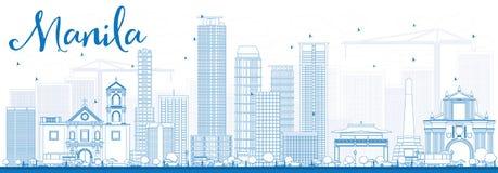 Ορίζοντας της Μανίλα περιλήψεων με τα μπλε κτήρια διανυσματική απεικόνιση