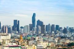 ορίζοντας της Μπανγκόκ εικονικής παράστασης πόλης, Ταϊλάνδη Η Μπανγκόκ είναι μητρόπολη και φ στοκ εικόνα