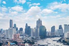 ορίζοντας της Μπανγκόκ εικονικής παράστασης πόλης, Ταϊλάνδη Η Μπανγκόκ είναι μητρόπολη και φ στοκ φωτογραφίες