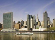 Ορίζοντας της Νέας Υόρκης, άποψη Ηνωμένων Εθνών Στοκ φωτογραφία με δικαίωμα ελεύθερης χρήσης