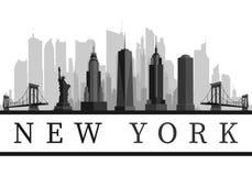 Ορίζοντας της Νέας Υόρκης ΗΠΑ και λεπτομερής ορόσημα σκιαγραφία, γραπτό σχέδιο, απεικόνιση ελεύθερη απεικόνιση δικαιώματος