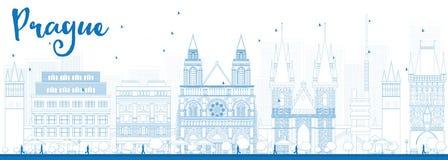 Ορίζοντας της Πράγας περιλήψεων με τα μπλε ορόσημα Στοκ φωτογραφίες με δικαίωμα ελεύθερης χρήσης
