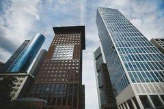 Ορίζοντας της πόλης της Φρανκφούρτης, στο κέντρο της πόλης κτίρια γραφείων ουρανοξυστών σύγχρονο megalopolis, οικονομικό κέντρο Στοκ Φωτογραφία
