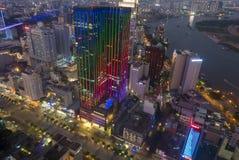 Ορίζοντας της πόλης του Ho Chi Minh τή νύχτα, Βιετνάμ Στοκ Εικόνες