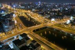 Ορίζοντας της πόλης του Ho Chi Minh τή νύχτα, Βιετνάμ Στοκ εικόνα με δικαίωμα ελεύθερης χρήσης