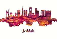 Ορίζοντας της Σαουδικής Αραβίας Jeddah στο κόκκινο ελεύθερη απεικόνιση δικαιώματος